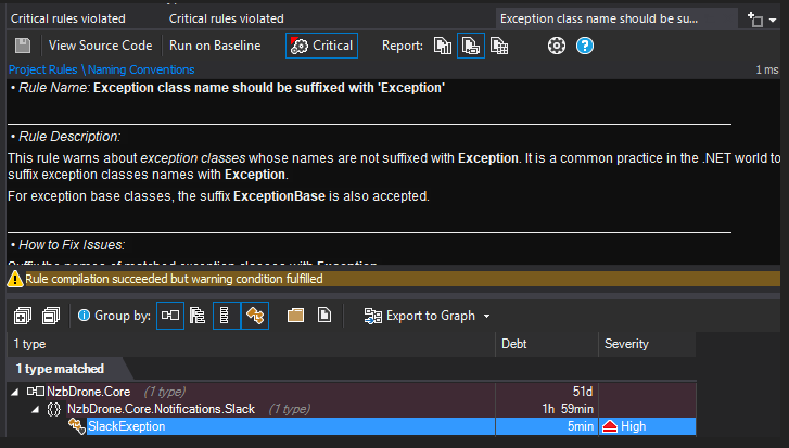 NDepend Invalid Exception 2